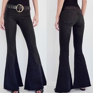 Free People Black Extreme Flare Bell Bottom Jeans